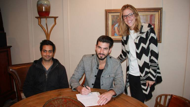 Pictured (L-R): Ozone Entertainment's Rohan Kohli, The Blueprint member and Prescription Songs/Ozone Entertainment's Ryan Ogren with BMI's Penny Gattis.