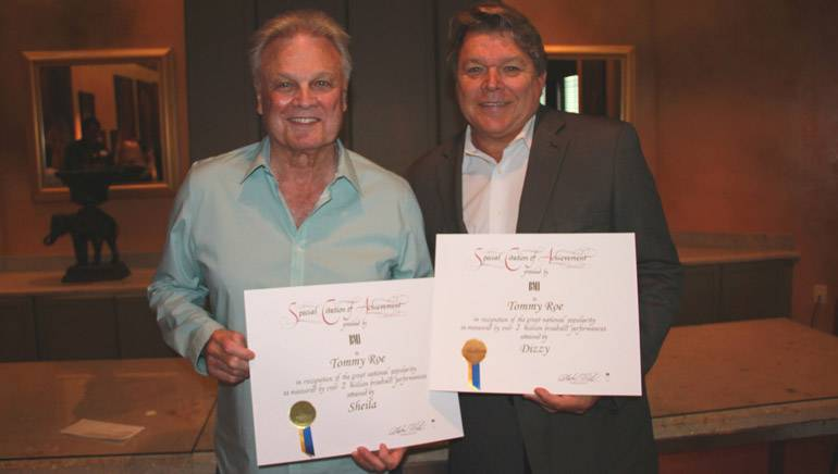 Pictured (L-R): Songwriter Tommy Roe with BMI's David Preston.
