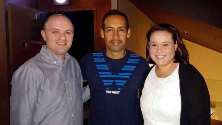 Pictured (L–R): BMI's Philip Shrut, BMI composer Antonio Sanchez and BMI's Evelyn Rascon.