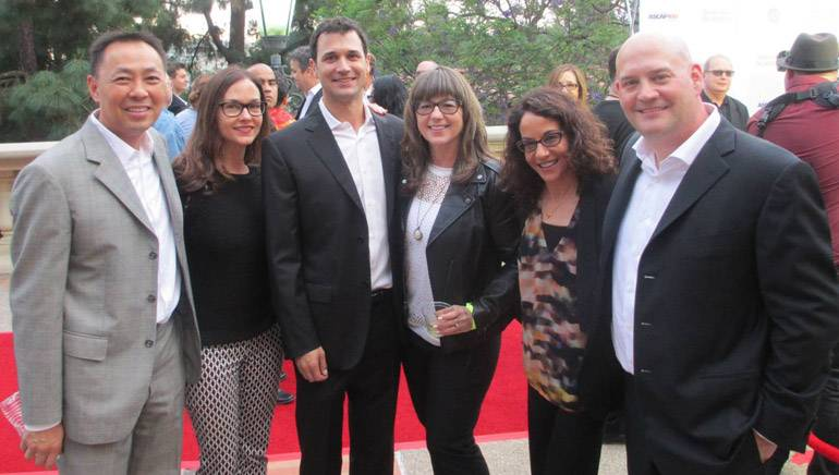 Pictured outside the Hall are (L-R): BMI's Ray Yee and Lisa Feldman, composer Ramin Djawadi, Gorfaine Schwartz Agency's Maria Machado and Cheryl Tiano, and composer Trevor Morris.