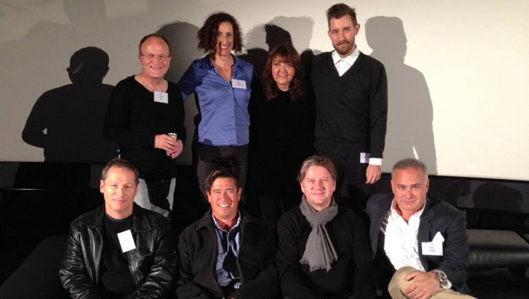 Pictured (L-R): Back row — Cinemusic's Andy Hill, Cinemedia Promotions' Beth Krakower, BMI's Doreen Ringer-Ross, White Bear Public Relations' Chandler Poling. Front row — BMI composer Cliff Martinez, Sound Track Music Associates' John Tempereau, composer Cyril Morin and Costa Communications' Ray Costa.