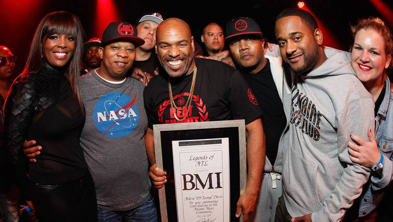 """BMI presented DJ Toomp with the Legends of ATL Award at """"The Super Producers Summit,"""" held April 16 in Atlanta. Pictured at the event are BMI's Catherine Brewton, producer Mannie Fresh, Legends of ATL award recipient DJ Toomp, producer KLC, and BMI's Byron Wright and Nina Carter."""