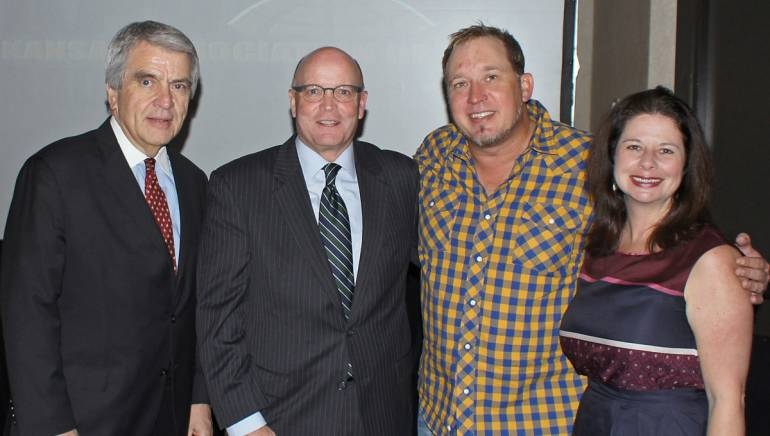 Pictured (L-R) after the performance are: National Association of Broadcasters Executive Vice President, Radio John David, Kansas Association of Broadcasters President and Executive Director Kent Cornish, BMI songwriter Phillip White and BMI's Jessica Frost.