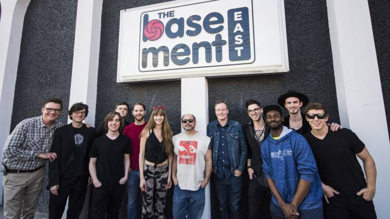 BMI's Perry Howard poses with members of Joel & The Gents, BMI songwriter Andrea Davidson, The Basement East's Dave Brown and Mike Grimes and more members of Joel & The Gents before the Eastside Sounds showcase.