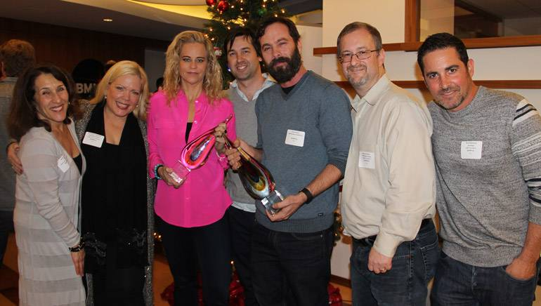 Pictured (L-R) at the 2015 AIMP holiday mixer held at BMI's Los Angeles office are: Barbie Quinn, Executive Director AIMP and Associate Director BMI; Teri Nelson Carpenter, Vice President AIMP and CEO Reel Muzik Werks; recipient of the Individual Award for her support of songwriters and publishers in 2015, Dina LaPolt, LaPolt Law P.C.; recipients of the 2015 Indie Publisher of the Year award, Head of Operations SONGS Music Publishing Rob Guthrie and Head of Creative Services SONGS Music Publishing, Tom DaSavia; Michael Eames, President AIMP and President PEN Music Group; and David Weitzman, Secretary AIMP and Vice President, Business Development, ole.