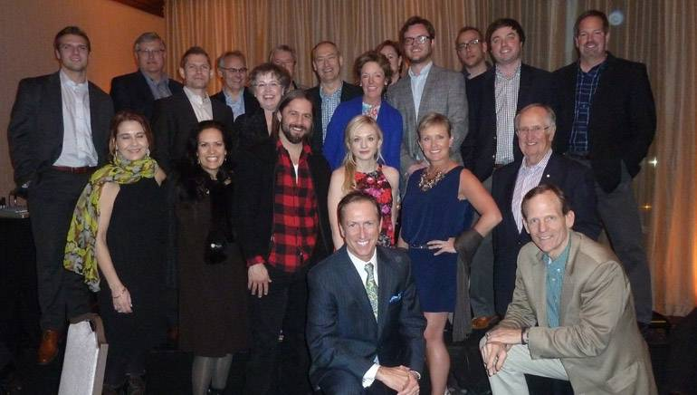 BMI songwriter Emily Kinney is pictured with the AIMS group, along with Nashville singer-songwriter Hugh Mitchell and BMI's Dan Spears.