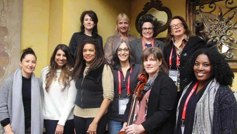 Pictured at the Alliance For Women Film Composers inaugural brunch on January 27, 2015 at Café Terigo (L–R): Back row — composer Lesley Barber; AWFC co-founder and BMI composer Lolita Ritmanis; BMI composer Nora Kroll-Rosenbaum and AWFC co-founder and BMI composer Laura Karpman. From row — BMI singer-songwriter and composer KT Tunstall; BMI's Reema Iqbal; BMI composer Kathryn Bostic; AWFC co-founder and BMI composer Miriam Cutler; BMI composers Heather McIntosh and Chanda Dancy.