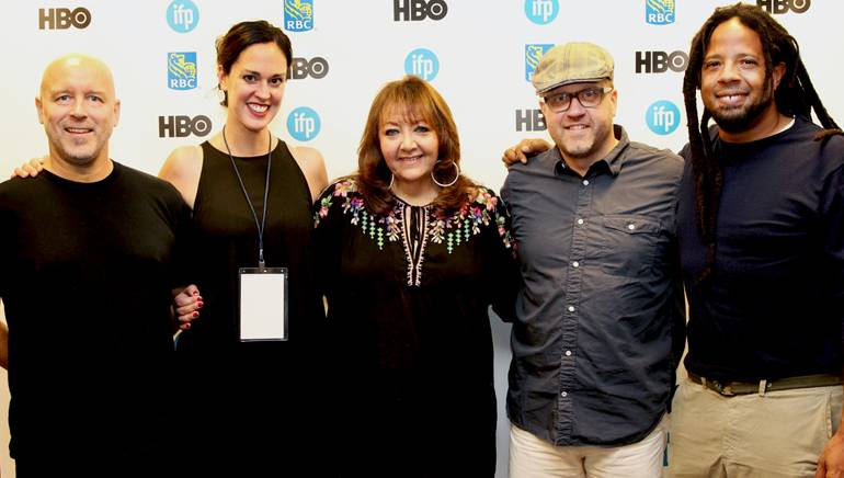 BMI composer T. Griffin, filmmaker Diana Whitten, BMI's Doreen Ringer-Ross and music supervisors Joe Rudge and Barry Cole pause for a photo at BMI and IFP's informative panel discussion.