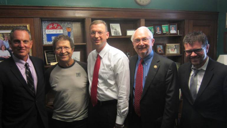 Pictured: BMI President and CEO Mike O'Neill, BMI songwriter Mac Davis, Representative Doug Collins (R-GA), Representative Randy Neugebauer (R-TX) and NSAI President and BMI songwriter Lee Thomas Miller in Collins' D.C. office in April.