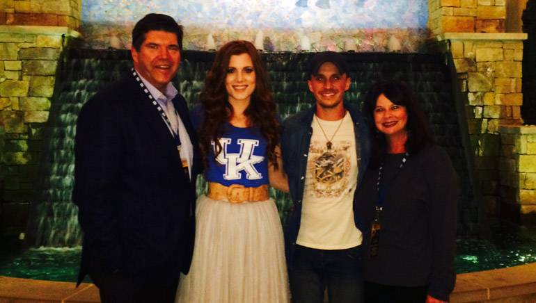 Pictured (L-R) after the performance are: Commonwealth Broadcasting President & CEO and BMI Board Member Steve Newberry, BMI singer-songwriters Greg Bates and Shelley Skidmore and BMI's Jessica Frost.