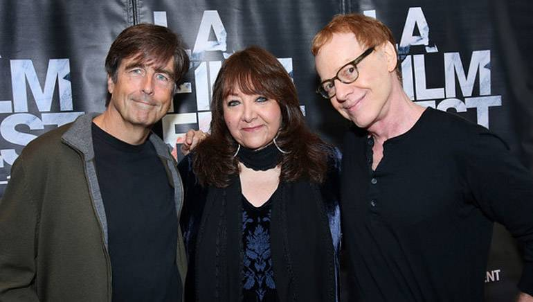 "Pictured (L-R): BMI composer Thomas Newman, BMI's Doreen Ringer-Ross and BMI composer Danny Elfman at ""Coffee Talk"" at the LA Film Festival."