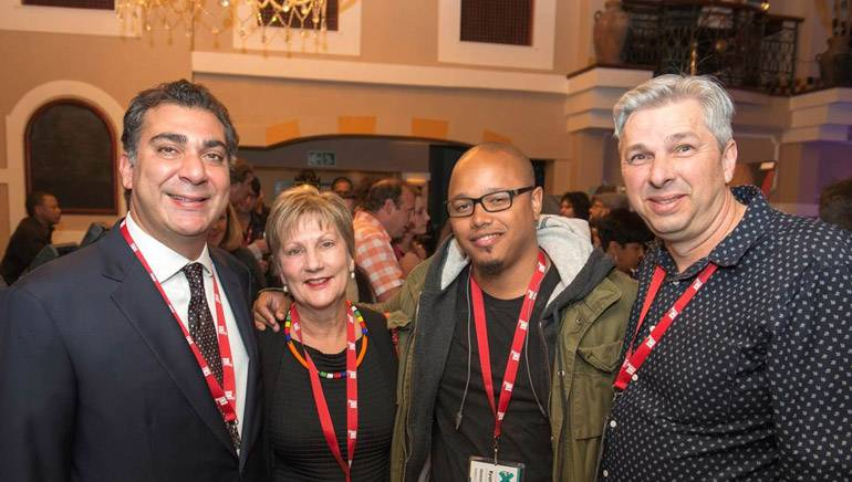 Pictured (L-R) at Market Hall, Sun GrandWest Casino in Cape Town, South Africa on September 24  are: BMI's Brandon Bakshi, Arts And Culture Minister In Western Cape Government Minister Marais, A3C Festival & Conference's Ryan Haslam and founder of MEX15 Martin Myers.