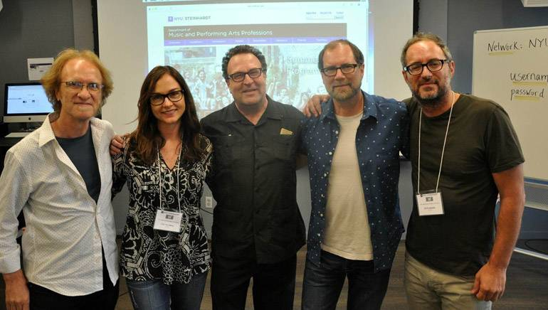 BMI composer and NYU Music Associate Professor of Film Scoring Mark Suozzo, BMI's Lisa Feldman, Director, NYU Music Department Ron Sadoff and BMI composers and workshop instructors Andy Bloch and Peter Nashel.