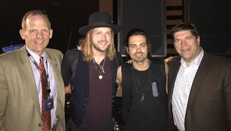 Pictured (L-R) after the show are: BMI's Dan Spears, A Thousand Horses lead singer and BMI songwriter Michael Hobby, A Thousand Horses guitarist and BMI songwriter Zach Brown, Commonwealth Broadcasting President and BMI Board Member Steve Newberry.