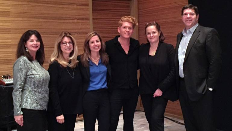 Pictured (L-R) after the performance are: BMI's Jessica Frost, RAB President and CEO Erica Farber, Cox Media Regional Vice President Susan Larkin, BMI singer-songwriter Seth Alley, Hubbard Radio Chair and Executive Officer and BMI Board Member Ginny Morris and Commonwealth Broadcasting President and CEO and BMI Board Member Steve Newberry.