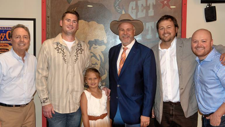 BMI's Jody Williams, contest winners Harley and Chloe Lewis, BMI songwriter Robert Earl Keen, BMI's Mason Hunter and HD Radio's Juan Galdamez are pictured backstage at the Ryman Auditorium before Keen's performance.