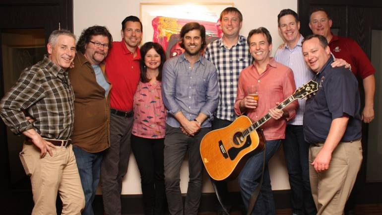 Pictured (L-R) after Graham Colton's performance are: WRA Board Past Chair and President of Consolidated Restaurants Jim Rowe, WRA Board Member and President of Dickinson Northwest Inc. Scott Dickinson, WRA Board Member and Regional Director at Proximo Spirits Matt McCarty, BMI's Jessica Frost, BMI songwriter Graham Colton, WRA Board Member and owner of Tango's & Rumba Restaurants Travis Rosenthal, WRA Board Immediate Past Chair and President of Center Twist, Inc. Bret Stewart, WRA Board Member and President of Food Services of America Seattle Branch Randy Irvine, WRA Board Chair and owner of Stop N Go Family Drive In Spokane Phil Costello, and WRA President and CEO Anthony Anton.