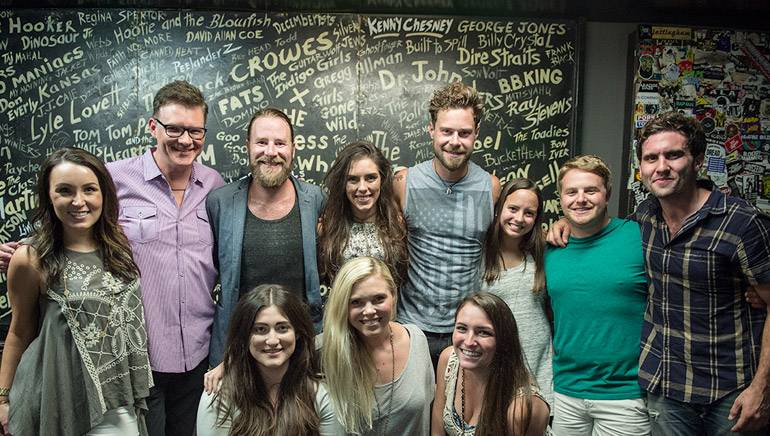 Pictured (L-R): (back row): CMT/YEP's Jordan Stephens, BMI's Perry Howard, BMI songwriters/performers David Borné, Taylor Watson and Lewis Brice, MadeIn Network/YEP's Emilija Clark, Rounder Records/YEP's Josh Saxe and Come Together Create's Jonathan Pears. (front row): This Music/YEP's Anna Weisband and Kendall Lettow with UMPG/YEP's Amelia Varni.