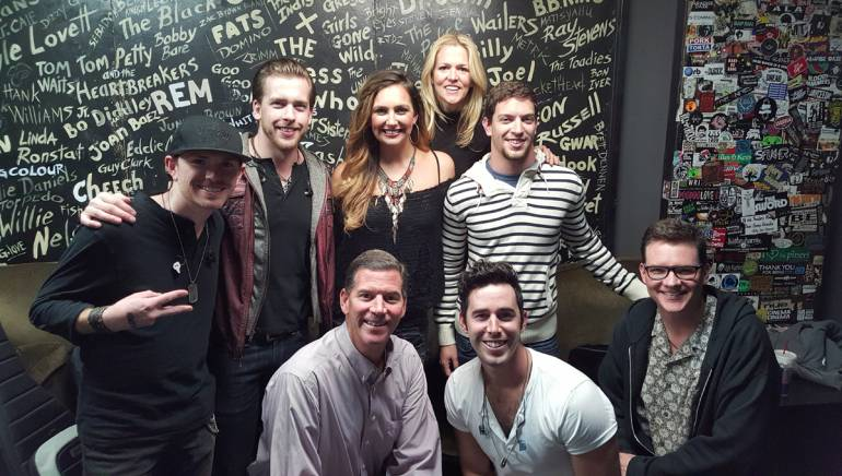 Pictured: (L-R): Back row: Backroad Anthem members and BMI songwriters Toby Freeman and Brandon Robold, BMI songwriter Ashley Gearing, BMI's Leslie Roberts and YEP's Andrew Cohen. Front Row: BMI's Mark Mason, Backroad Anthem member and BMI songwriter Craig Strickland BMI's Perry Howard.