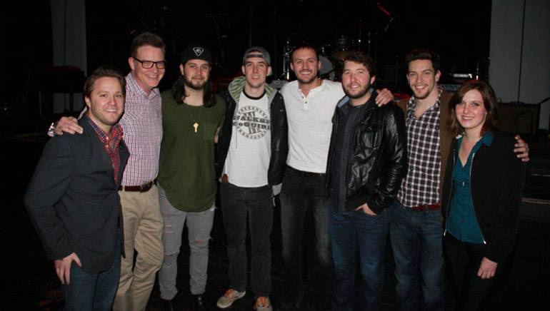 Pictured (L-R): Crush Music's Marc Rucker; BMI's Perry Howard; Tyler Filmore and John Gurney, who are songwriters and members of The Lookout; BMI songwriters Drew Baldridge and Ryan Beaver; YEP's Andrew Cohen; BMI's Brooke Ivey