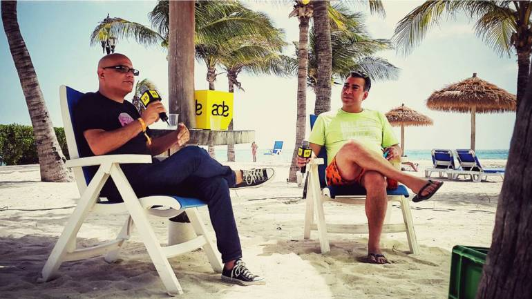 Pictured September 5, 2015, at the Renaissance Hotel in Aruba are Aftercluv DanceLab's Luis Estrada and BMI's Brandon Bakshi discussing the industry trends, sounds, possibilities and future visions for electronic dance music.