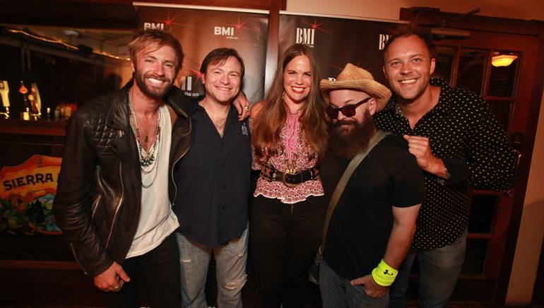 BMI singer-songwriters Paul McDonald, Adam Hood, Bonnie Bishop and Angie Aparo pose with BMI's David Claassen before the Eddie's Attic Songwriter Showcase.