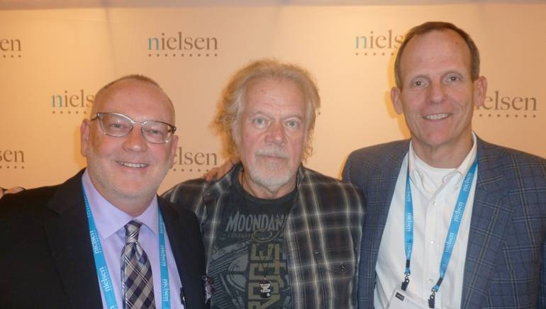 Pictured (L-R) before Randy's session are: KSWD-FM Program Director Dave Beasing, rock legend Randy Bachman and BMI's Dan Spears.