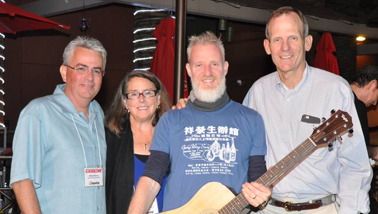 Pictured (L-R) after the Storytellers Session are: Neuhoff Media EVP/COO Mike Hulvey, WLEN-FM General Manager Julie Koehn, BMI songwriter Chris Barron and BMI's Dan Spears.