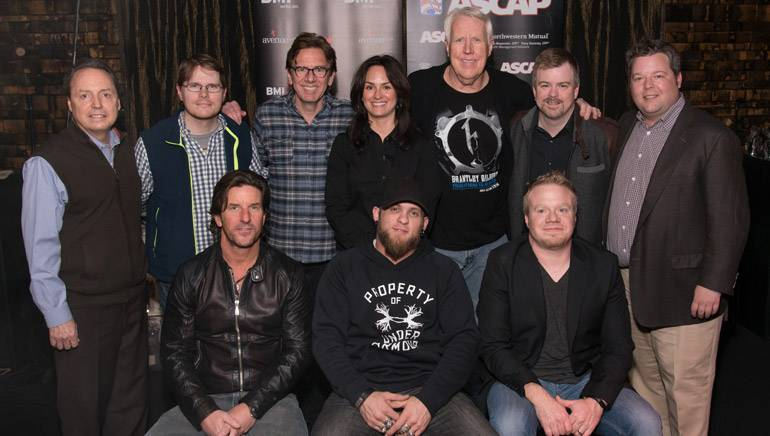 Pictured (L-R): Back row: BMI's Jody Williams, Cornman Music's Nate Lowery, producer Dan Huff, ASCAP's LeAnn Phelan, Valory Music Co.'s George Briner, Warner/Chappell's Ben Vaughn, BMI's Bradley Collins. Front row: songwriter Brett James, BMI songwriter Brantley Gilbert and songwriter Justin Weaver.