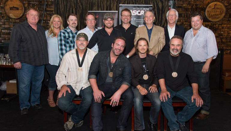 Pictured (L-R back row): ASCAP's Mike Sistad, Big Yellow Dog's Danni O'Neill, Amylase's Ben Vaughn and Whit Jeffords, producers Kyle Jacobs and Matt McClure, Curb Records' Mike Curb and Jim Ed Norman, BMI's Bradley Collins. (front row) BMI songwriter David Frasier, BMI singer/songwriter Lee Brice, songwriter Josh Kear and BMI songwriter Ed Hill.