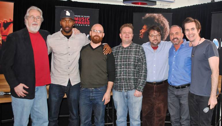 Pictured (L-R) at the 'Music As A Business' panel during 'Bringin' Down The House' are panelists: Steve Winogradsky, Ezekiel Lewis, David Gluck, Paul McGuigan, Thomas Golubić and Michael Crepezzi with moderator Jonny Hynes.