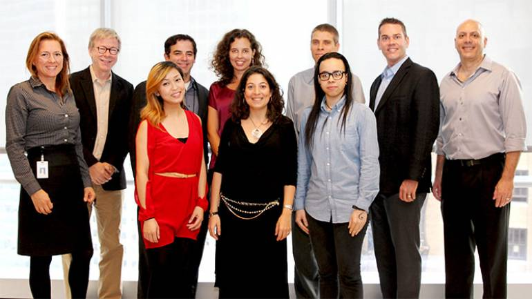 (back) BMI Foundation's Antonella DiSaverio, Pat Cook, Rich Garza, Amanda Charnley, CCNY's Jonathan Pieslak, David F. Bills, CCNY's Shaugn O'Donnell and (front) Evelyn Buckstein Scholarship winners Jasmine Kok, Berta Moreno, and Winy Taveras.
