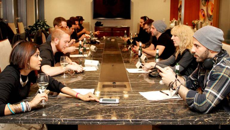 Songwriters recently gathered at BMI's New York office for Speed Dating for Songwriters, a networking event for a small group of up-and-coming songwriters, structured like a speed dating session. The writers met one another, listened to each others' music and found partners for collaboration and feedback, all in one meeting.