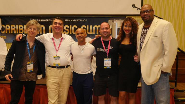 Pictured (L-R) during the Caribbean Music Summit are: Brasil Musica E Artes' Robert Singerman, BMI's Brandon Bakshi, Caribbean2World's Ivan Berry, MusicHelp's Peter Astedt, BMI songwriter and artist Amanda Reifer and Music of the Sea's Eddie Caldwell.