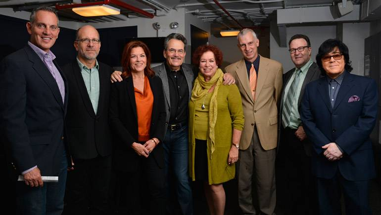 Pictured (L-R) backstage at the Master Session are: BMI President and CEO Mike O'Neill, Cash's manager Danny Kahn, Rosanne Cash, Phil Galdston, SHOF's Karen Sherry, Dean Robert Rowe, Department Director Dr. Ron Sadoff, and SHOF Board Member John Titta.