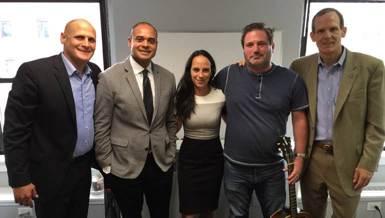 Pictured (L-R) after the presentation are: Illinois Restaurant Association Director of Sales and Marketing Eric Fine, BMI Regional Licensing Representative Ed Rios, Attorney Daliah Saper, BMI songwriter Dylan Altman and BMI's Dan Spears.