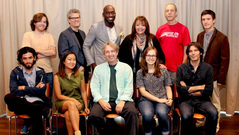 "Pictured (L-R) at the ""Composing for the Screen"" workshop are (back row): Andrés Walker, Louis Robert King, Phinees Robert, Doreen Ringer-Ross, Joel Harrison and Nathan Prillaman. (front row): Erick Pepper Rivera, Carrin Tanaka, Rick Baitz, Erin Tomkins and Sami Buccella."