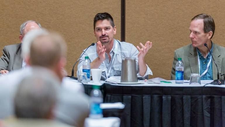 BMI writer and recording artist George Ducas engages with the crowd while BMI's Dan Spears looks on during the panel discussion 'Copyright Issues – People In The Know.'