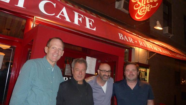 Pictured (L-R) in front of the Cornelia Street Café before the show are: BMI's Dan Spears, Cornelia Street Café owner Robin Hirsch and BMI songwriters Jeff Cohen and Dylan Altman.