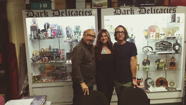 BMI composer Harry Manfredini (Friday the 13th) BMI's Anne Cecere and BMI composer Brian Reitzell (Hannibal) at the store known for horror, Dark Delicacies in Burbank, CA.
