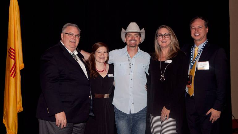 Pictured (L-R) after the performance are: NMRA Board Member Jerry Harrell, NMRA Event Coordinator Brianna Dennis, BMI singer-songwriter George Ducas, NMRA CEO Carol Wight and BMI's Rick Schrock.