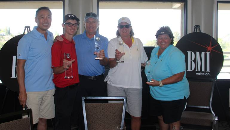 Pictured with BMI's Ray Yee are 1st place winners of BMI's sixth annual golf tournament in support of Education Through Music: Daniel Salvay, Bennet Salvay, Alison Smith and Mary Jo Menella.