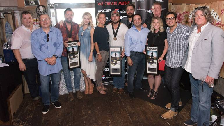 Pictured (L-R): BMI's Bradley Collins, Patrick Joseph Music's Pat Higdon, ASCAP songwriter Brad Tursi, ASCAP's Beth Brinker, BMI's Leslie Roberts, BMI affiliate and recording artist Tyler Farr, ASCAP songwriter Jonathan Singleton, Big Machine Music's Mike Molinar, ASCAP's Mike Sistad, BMI songwriter Melissa Pierce, Big Deal Music's Pete Robinson, and Disney's Patrick Clifford.