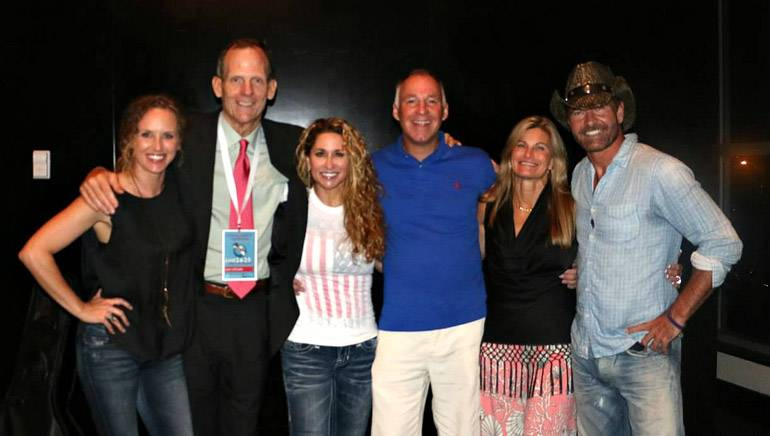 Pictured (L-R) after the performances are: BMI songwriter Kristen Kelly, BMI's Dan Spears, Trick Pony's Heidi Newfield, Holladay Broadcasting Owner and President Bob Holladay, FAB Board Chair and iHeart Media Regional Market President Sherri Griswold and Trick Pony's Keith Burns.