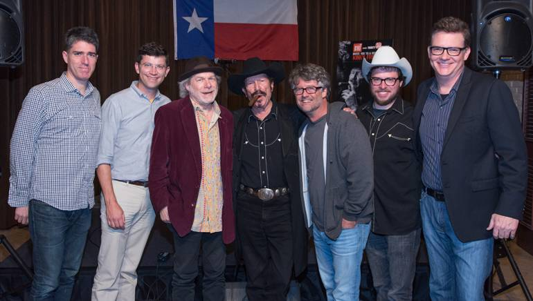 Pictured: (L-R): Loeb & Loeb attorney John Strohm, Thirty Tiger's Logan Rogers, songwriter Buddy Miller, BMI songwriter Kinky Friedman, Americana Music Association's Jed Hilly, producer Brian Molnar and BMI's Perry Howard.
