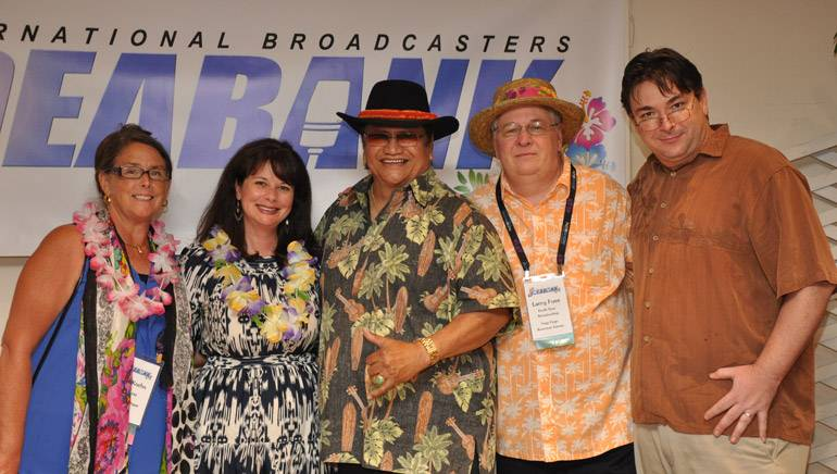 Pictured (L-R) after Led's performance are: WLEN-FM President Julie Koehn, BMI's Jessica Frost, BMI singer-songwriter Led Kaapana, South Seas Broadcasting President Larry Fuss, and South Seas Vice President and General Manager Joey Cummings.