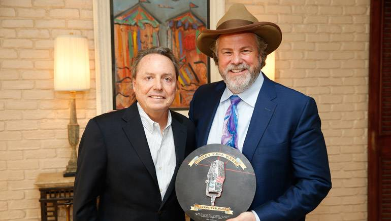 "BMI's Jody Williams is pictured with BMI songwriter and Troubadour Award winner Robert Earl Keen. The award is the ""songwriter's songwriter award."""