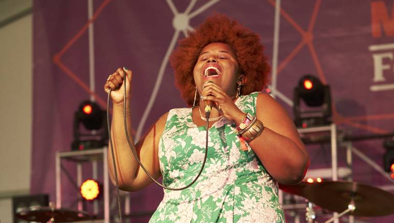 BMI songwriter and member of the Suffers, Kam Franklin, captivated the audience with a high-energy performance that got the crowd moving at the BMI stage during the Landmark Music Festival.