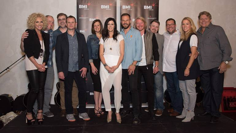 """Pictured: (L-R): The people behind the track """"Day Drinking,"""" including LBT member Kimberly Schlapman, Universal Record's Shane Allen, BMI songwriters Barry Dean and Troy Verges, Creative Nation/Pulse's Beth Laird, BMI songwriter and LBT members Karen Fairchild, Jimi Westbrook and Phillip Sweet, Warner Chappell's Ben Vaughn, Universal Music Publishing's Kent Earls, BMI's Leslie Roberts and David Preston."""
