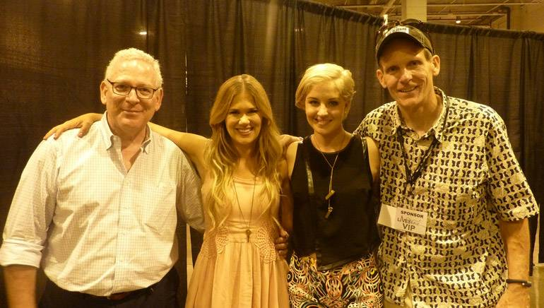 Pictured (L-R) after the performances are: LNP Media Group Chairman Bob Krasne, Curb recording artist Ruthie Collins, singer-songwriter Maggie Rose, and BMI's Dan Spears.
